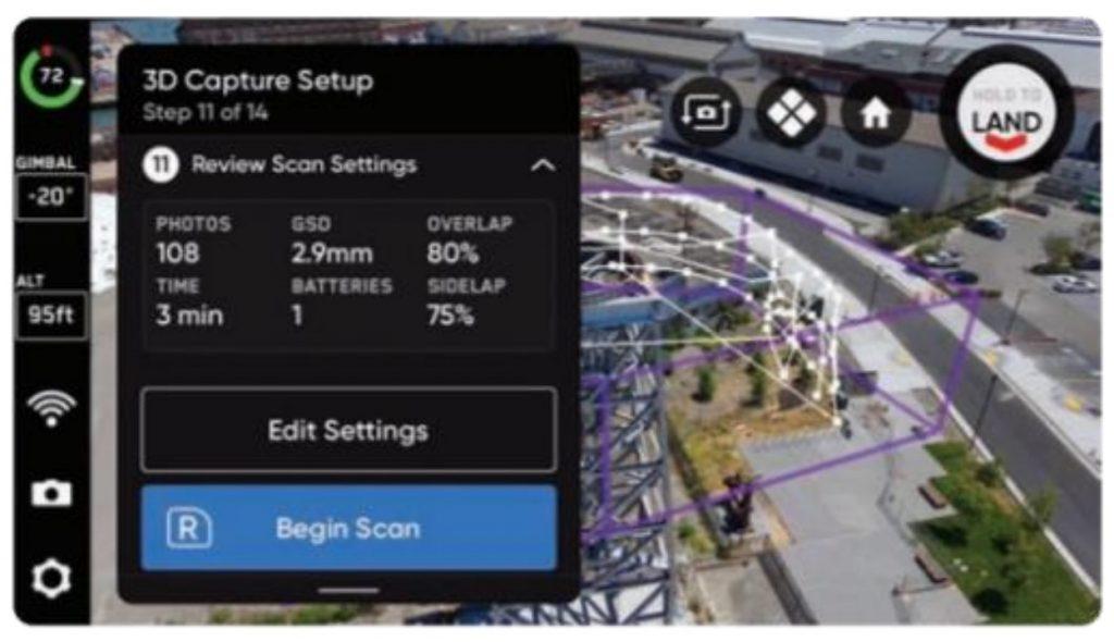 操作画面イメージ。撮影前の設定では、構造物の領域を指定し、ラップ率を調整することでバッテリー残量などを踏まえた撮影が設定できる。