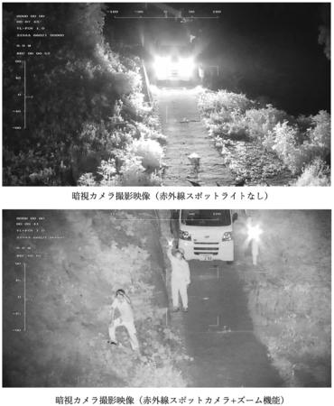 暗視カメラ撮影による不審者及び不審車両の発見