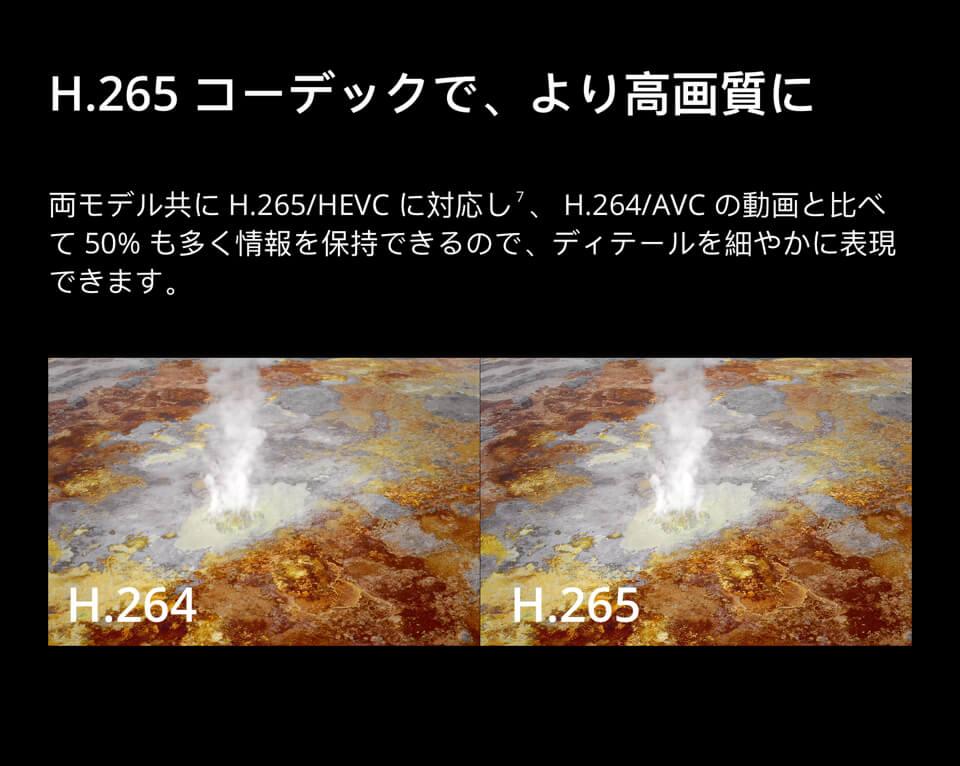 H.265コーデックで、より高画質に「両モデル共にH.265/HEVCに対応し、H.264/AVCの動画と比べて50%も多く情報を保持できるので、ディテールを細やかに表現できます。」